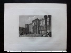 After Vickers 1834 Antique Print. Court Yard of the Royal Palace, Berlin Germany